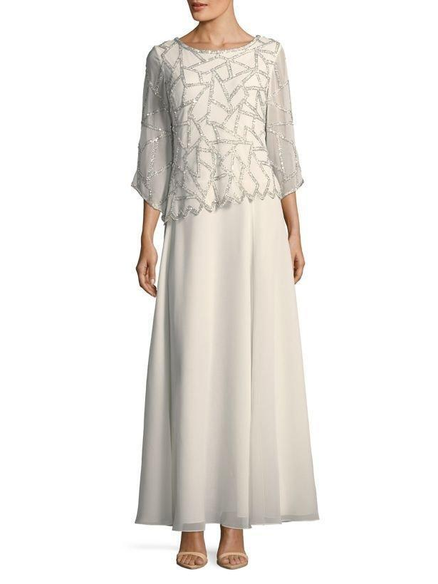 JKARA® 10 Ivory Embellished Long Dress or Gown NWT    259 06b73f