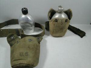 SET-OF-2-Original-WW2-US-Cross-Flap-Canteen-w-Belts