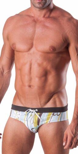 Geronimo Mens Swimwear Striped Brief Trunks Flowered Low Rise Swimming Wear