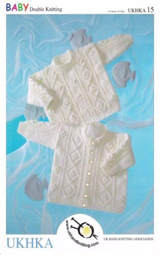 Ukhka 15 Baby Doble Tejer patrón Cardigan Manga Larga Sweater acanalado detalle