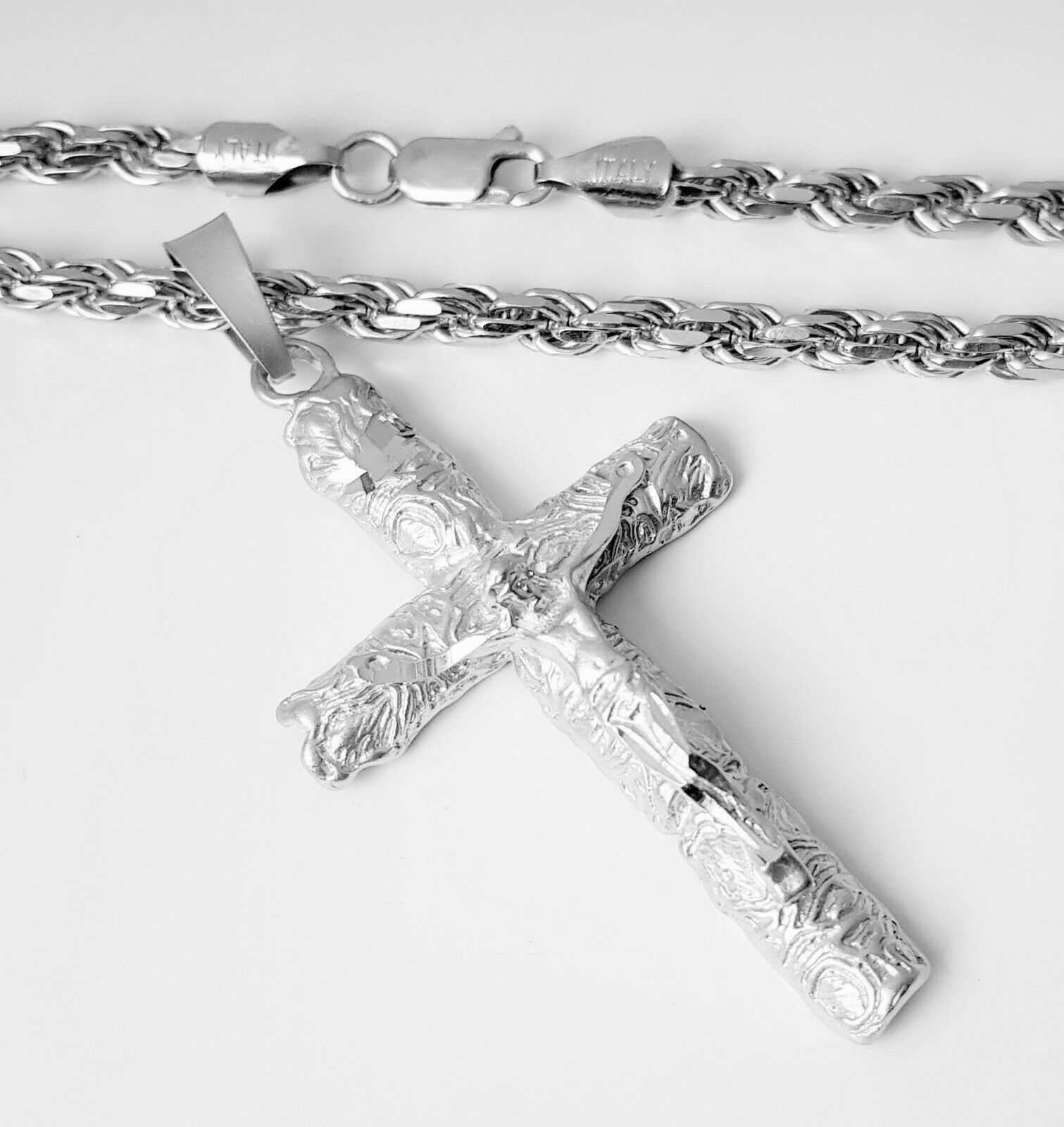 Kruzifix Jesus Christus Kreuz Anhänger 925 silber 3D diamantiert Halskette 55cm