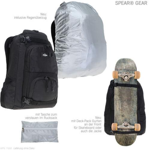"""Rucksack SPEAR GEAR Schulrucksack Laptoprucksack 17/"""" Skateboardrucksack SCHWARZ"""
