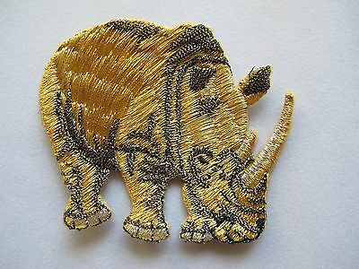 #3536 Gold,black,silver Animal Rhinoceros Embroidery Iron On Applique Patch Catalogi Worden Op Verzoek Verzonden