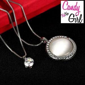 Crystal Diamante & Imitation Opal Long Chain Maxi Silver Necklace Set