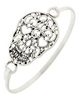 Antique Silver Tone Filigree Skull 7.5 Bangle Bracelet