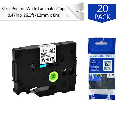 "2PK 0.47/"" TZ-231 Black on White Label Tape For Brother P-Touch PT-1830 PT-1880"