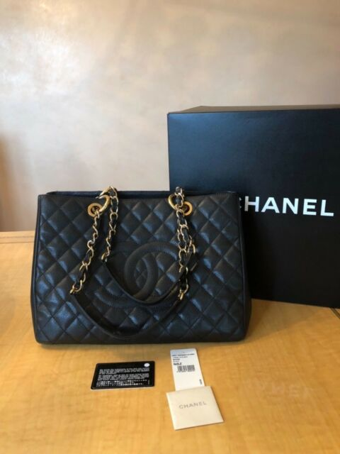 4b1af8d1644a  5000 100% Auth Chanel Black Caviar Gold Large Classic Timeless Shopper Bag  Box