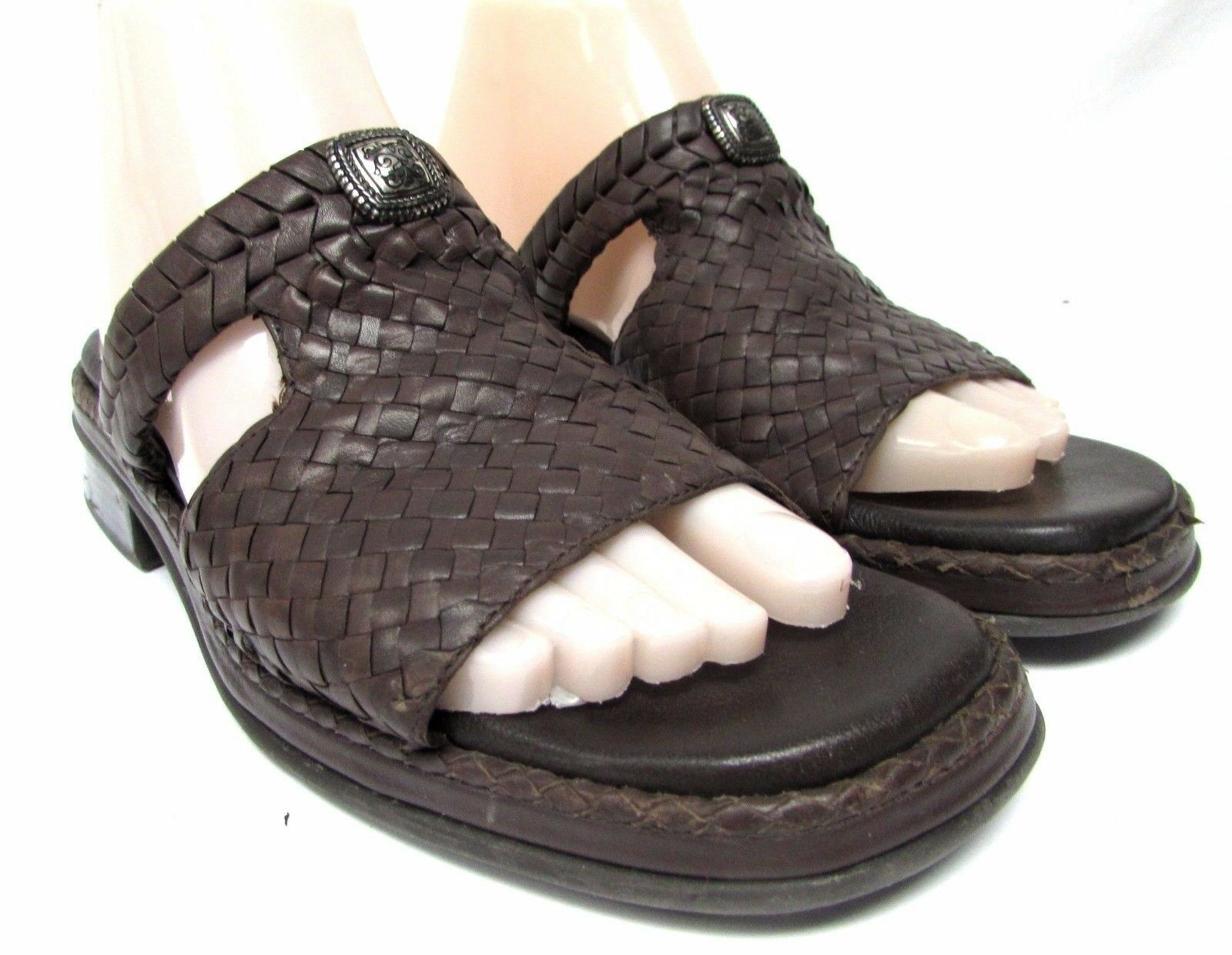 Brighton Willow women's size 8 N leather Med sandals  shoes slides Med leather heel brown cca3e1