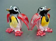2 Tiny Glass PENGUINS Colourfull Red Painted Glass Animals Miniature Ornaments