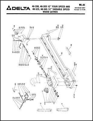 delta rockwell 12 inch gap bed wood lathe parts manual   ebay  ebay
