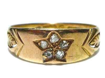L BROS 15CT 15K 625 VICTORIAN ART NOUVEAU ROSE CUT DIAMOND STAR LEAF RING BAND