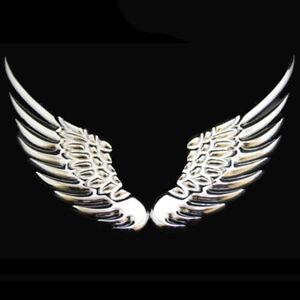 Fluegel-3D-Chrom-2x-Aufkleber-Sticker-Wings-Auto-Motorrad-Silber-Federn-Emblem