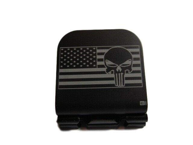 Bearded Skull American Flag Laser Crest Etched Aluminum Hat Clip Brim-it