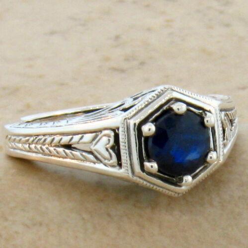 GENUINE BLUE SAPPHIRE ANTIQUE ART DECO DESIGN .925 STERLING SILVER RING #512