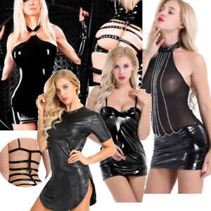 4bc936b4ffe Women Sexy Latex Leather Bodycon Short Mini Dress Underwear Skirt ...