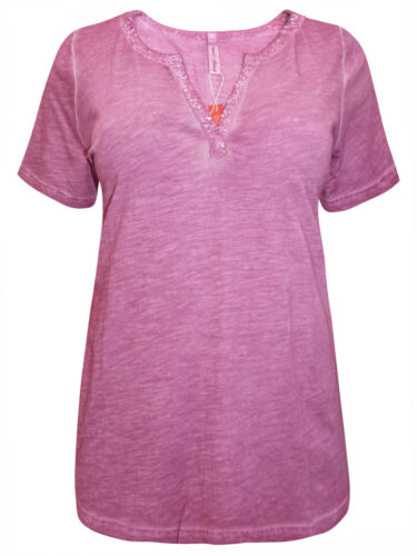 Sheego T-shirt Top Plus Taille 18//20 22//24 26//28 30//32 Rose Rose foncé huile lavé