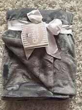 Baby Thro Baby Blanket Unisex Boy Girl Dark Gray Bunny So Soft!! NWT