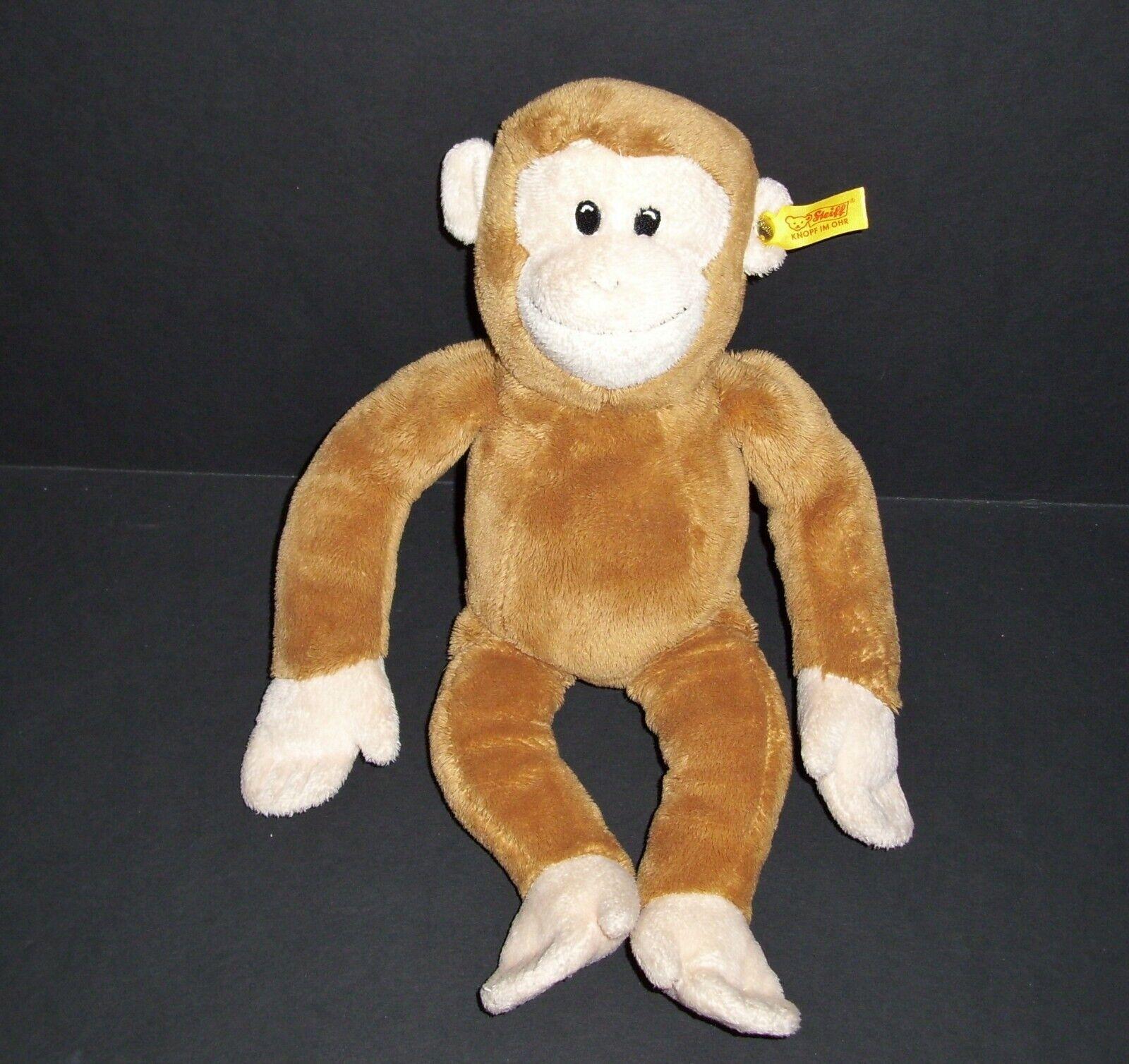Steiff Tan Brown Cream Monkey Plush Sewn Eyes Stuffed Animal Toy