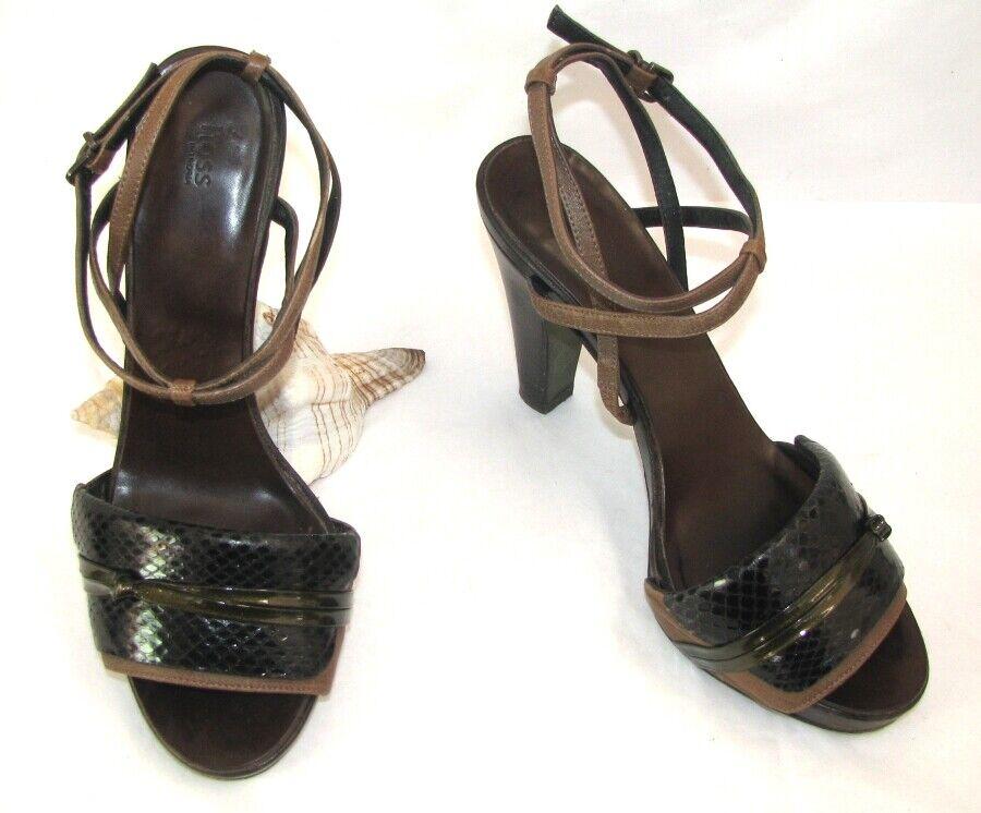 HOSS UTROPIA Sandals heels 4 5 16in plateau leather brown khaki 38