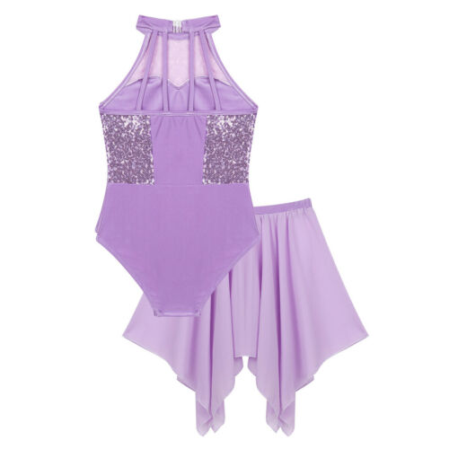 Girls Ballet Dance Dress Sequins Leotard Gymnastics Tutu Skirt Dancewear Costume