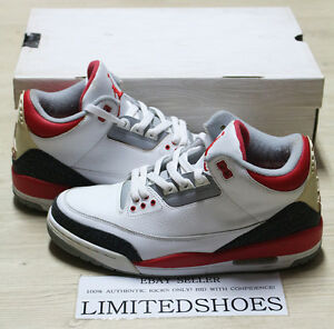559990865c8 NIKE AIR JORDAN III 3 RETRO FIRE RED 136064-161 US 9 white cement ...