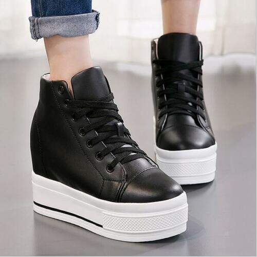 Women Chic High Top Platform Lace Up Round Toe Flat Creeper Shoes Sport Sneakers