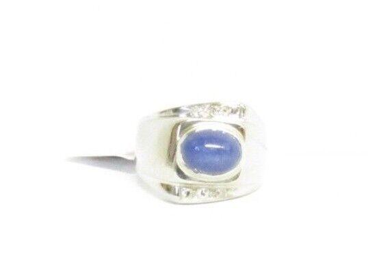 (RI3) Men's 14K White gold Sapphire & Diamond Ring - sz 9 - 11.2 g - .06 TCW