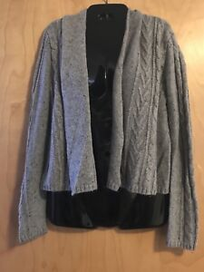 308a1932fd87 Converse One Star Womens Gray Chunky Knit Open Front Cardigan M