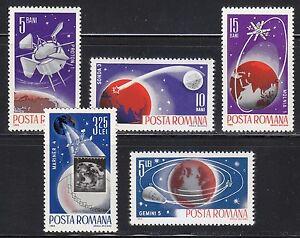Romania-1965-MNH-Sc-1802-1806-Mi-2465-2469-Probe-III-Proton-I-Molniya-I-Mariner