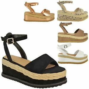 7a8729829d08 Image is loading WOMENS-LADIES-GLADIATOR-FLATFORM-ESPADRILLE-WEDGE -ANKLE-STRAP-