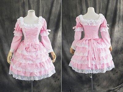 M-3106 S/M/L/XL/XXL rosa pink Gothic Classic Lolita Cosplay Kleid dress costume