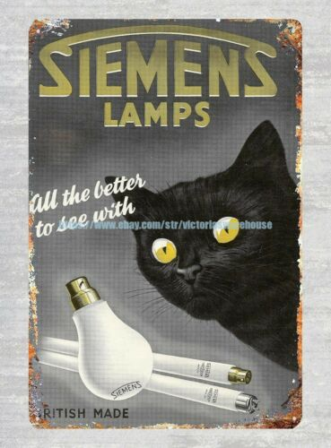 better to see with Siemens Lamps 1950 black cat metal tin sign deco bar