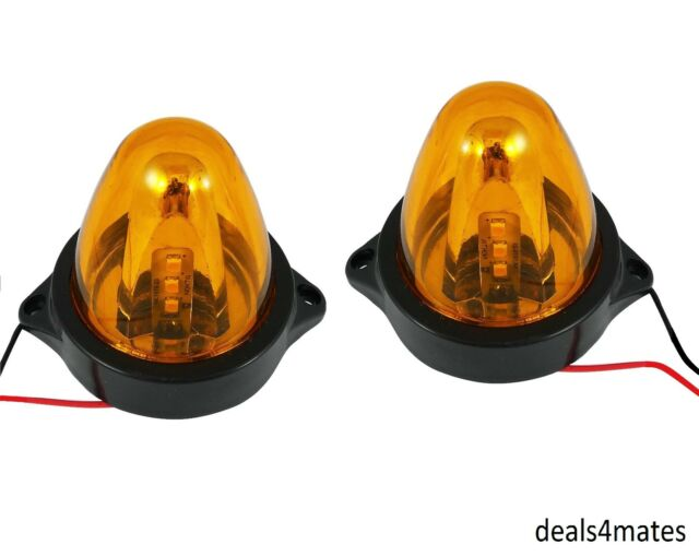 2 X 12V LED ORANGE AMBER SIDE MARKER ROTATING SPINNING LIGHTS MINI BEACON TRUCK