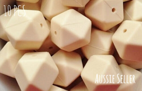 10 silicone SNOW WHITE 9mm beads round BPA free baby teeth safe nursing white