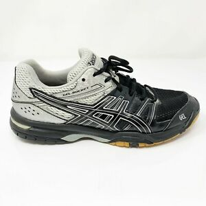 Asics-Mens-Gel-Rocket-7-B405N-Black-Gray-Running-Shoes-Lace-Up-Low-Top-Size-8-5