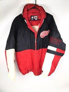 VTG 90s STARTER Detroit Red Wings NHL Hockey Hooded Jacket Size XL Full Zip