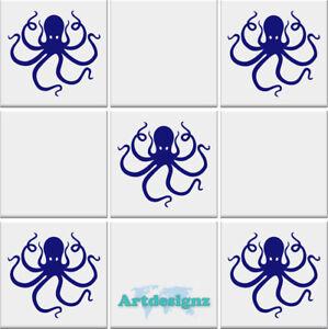 OCTOPUS Tile Stickers Bathroom Ocean Nautical Vinyl Wall Art ...