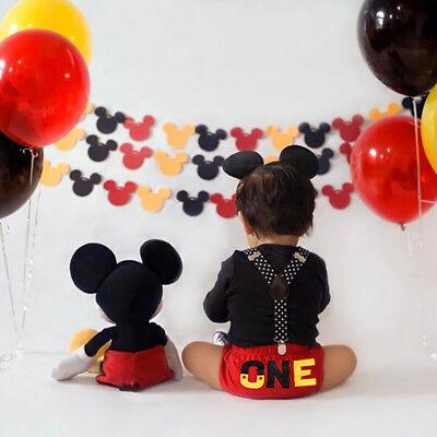 Mickey Mouse Cake Smash 1st Birthday Suspender Set 3pcs for Baby Boy Photography