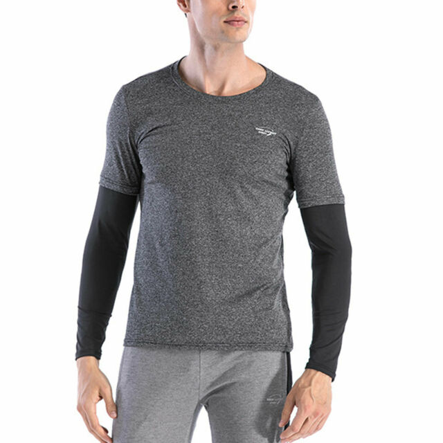 Men's Athletic T-shirt Compression Long Sleeved Tops Running Cycling Activewear