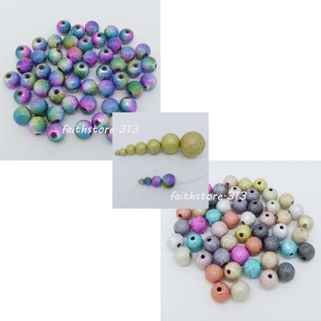 Acrylic Stardust Metallic Glitter Round Spacer Beads DIY 4/6/8/10/12/16/20mm C01