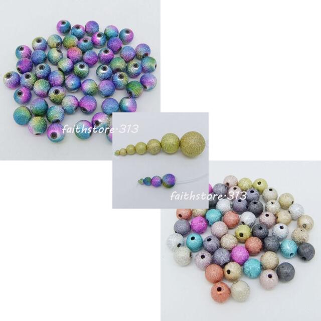 Acrylic Stardust Metallic Glitter Round Spacer Beads DIY 4/6/8/10/12/16/20mm C01