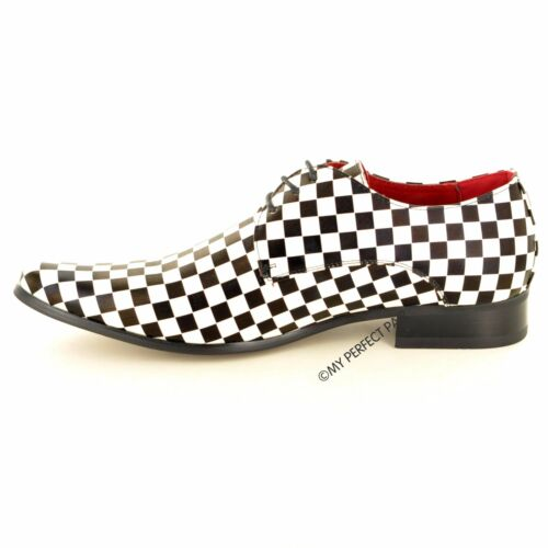Mens Black White Checkered Leather Lined Pointed Winkle Pickers Shoe UK Sz 6-12