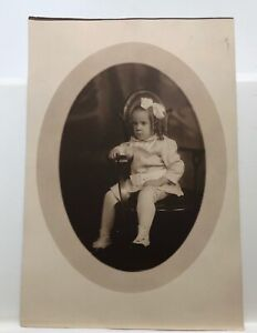 Antique Photo Little Girl • Matted • 1900-1910 • White Dress, Curls & Bow