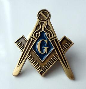 ZP17 Masonic Masons lapel badge Freemason Square Compass Antique Style G