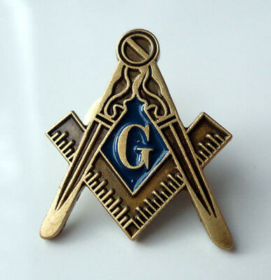 ZP17 Masonic Masons lapel badge Freemason Square Compass Antique Style G