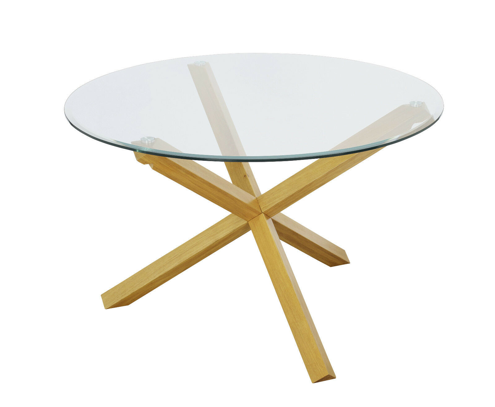 Trend Solid Oak Large Round Glass Top Dining Table 120cm