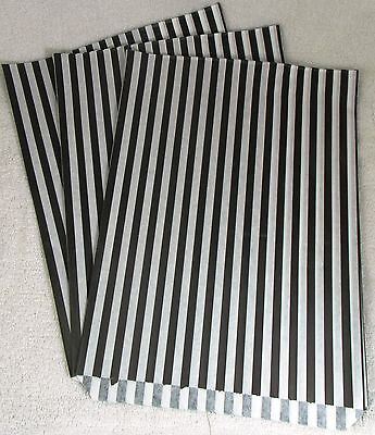 "240 x  10"" x 14"" Black Candy Stripe Paper Sweet Bags Retro - Clearance SALE"
