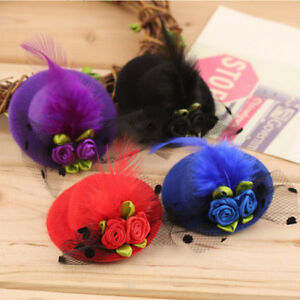 New-Halloween-Girls-Flower-Rose-Veil-Pillbox-Hat-Hair-Clip-Accessories-S8