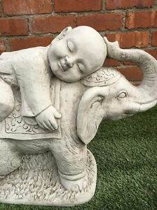 ... Boy On Elephant Garden Ornament Latex And Fibreglass