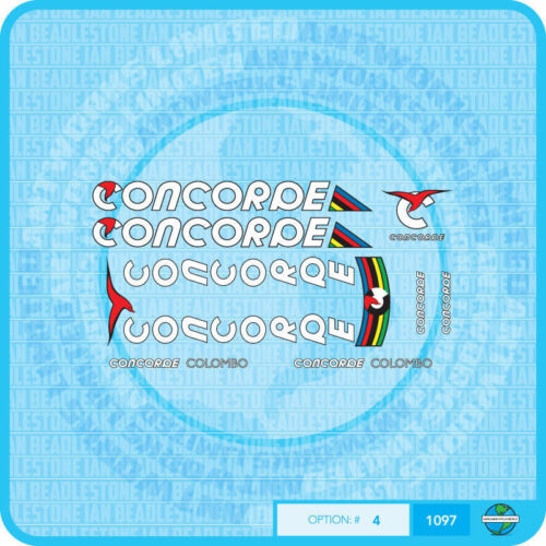 Concorde Colombo Bicycle Decasls Set 4 Transfers White Text Stickers